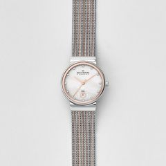 Skagen Women's Ancher Silver/Steel Round Stainless Steel Mesh Watch - 355SSRS