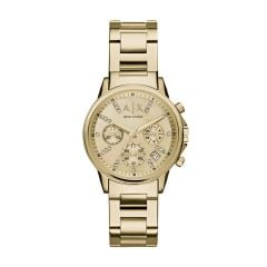 Armani Exchange Women's Lady Banks Gold Round Stainless Steel Watch - AX4327