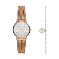 Armani Exchange Two-Hand Rose Gold-Tone Stainless Steel Watch and Bracelet Gift Set - AX7121
