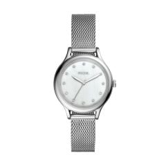 Fossil Women's Laney Silver Round Stainless Steel Watch - BQ3390