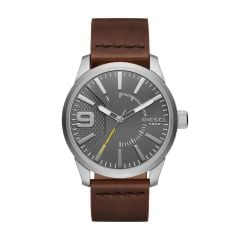 Diesel Men's Rasp Silver Round Leather Watch - DZ1802