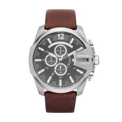 Diesel Men's Mega Chief Silver Round Leather Watch - DZ4290