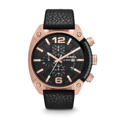 Diesel Men's Overflow Rose Gold Round Leather Watch - DZ4297