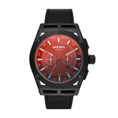 Diesel Timeframe Chronograph Black Leather Watch - DZ4544