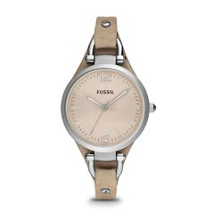 Fossil Women's Georgia Silver/Steel Round Leather Watch - ES2830