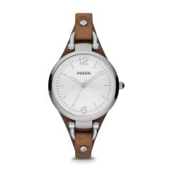 Fossil Women's Georgia Silver/Steel Round Leather Watch - ES3060