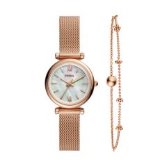 Fossil Women's Carlie Rose Gold Round Stainless Steel Watch - ES4443SET