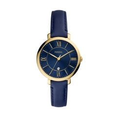 Fossil Women's Jacqueline blue sunray dial three-hand Date Movement and a Navy Leather Watch -ES5023
