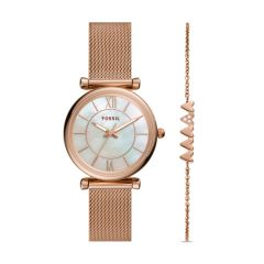 Fossil Women's Carlie Three-Hand Rose Gold-Tone Stainless Steel Watch and Bracelet Set - ES5058SET