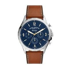 Fossil Men's Forrester Chrono Silver Round Leather Watch - FS5607